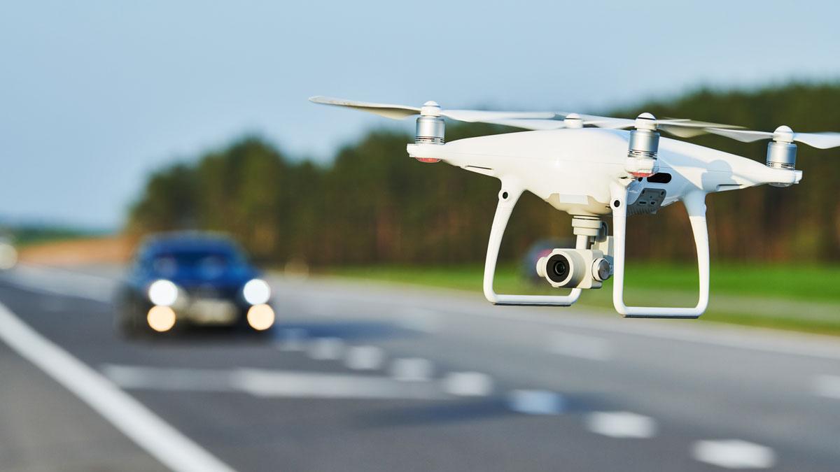 DJI Phantom 4 flying over the highway