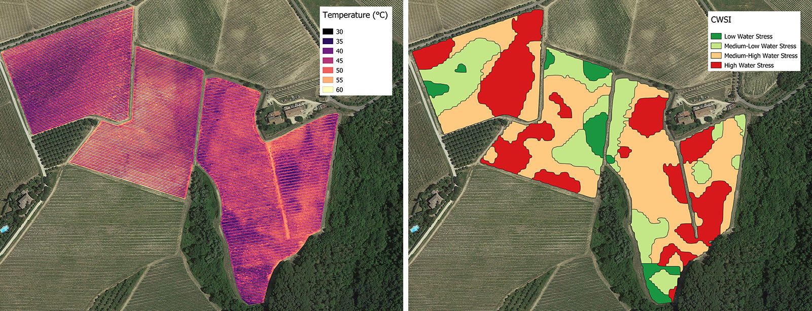Full vineyard temperature map (°C), vineyard CWSI map in 4 water stress classes