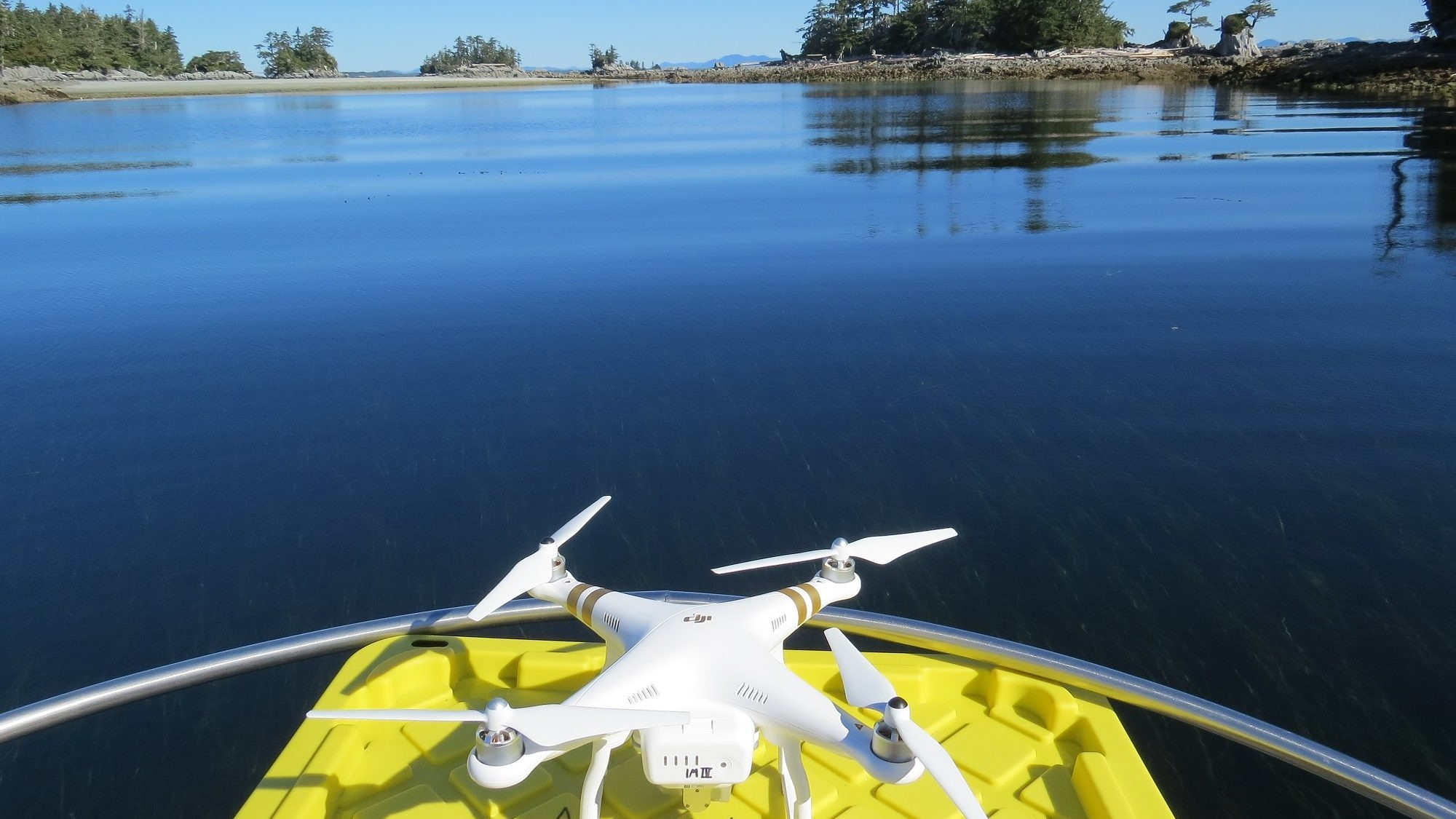 A drone ready to take off from a boat.