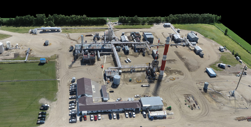 Aerial image of an operating gas plant.