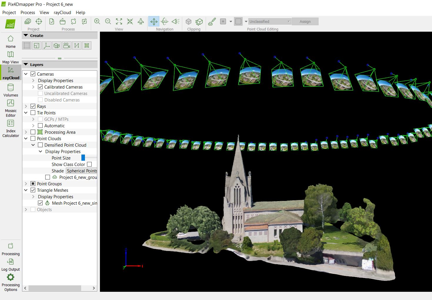 raycloud interface of a church