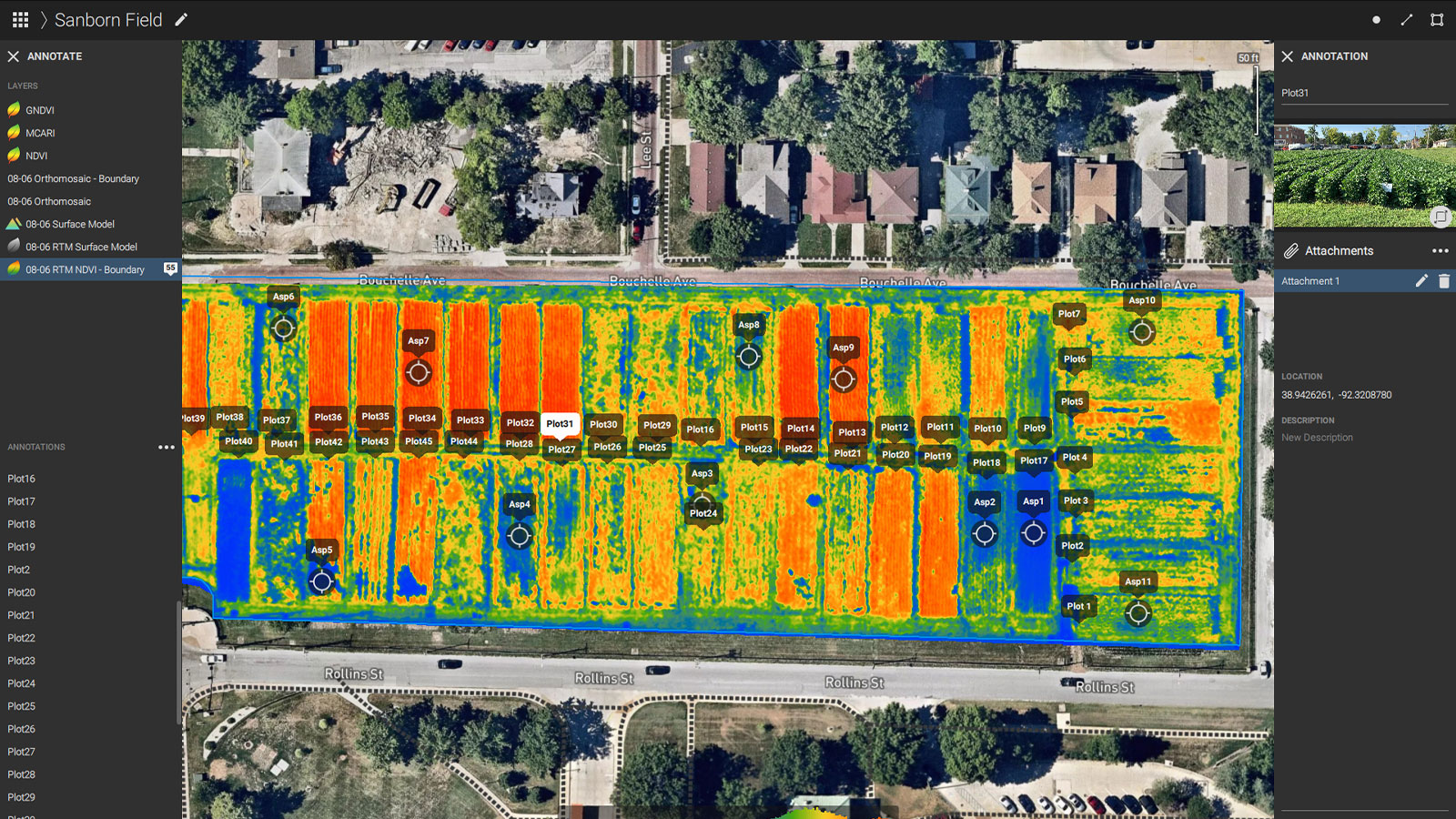 Ndvi map of the Sanborn fields