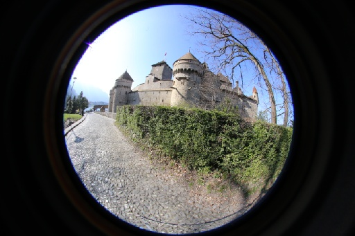 Chillon castle exterior shot with a fisheye lens
