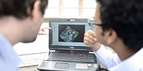 A Pix4D user working on a project with a trainer