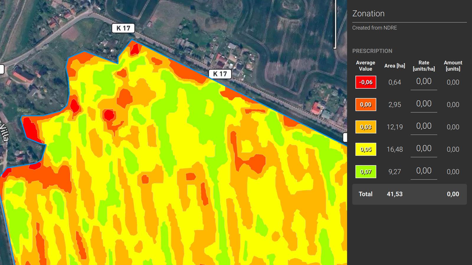 prescription map output for precision agriculture