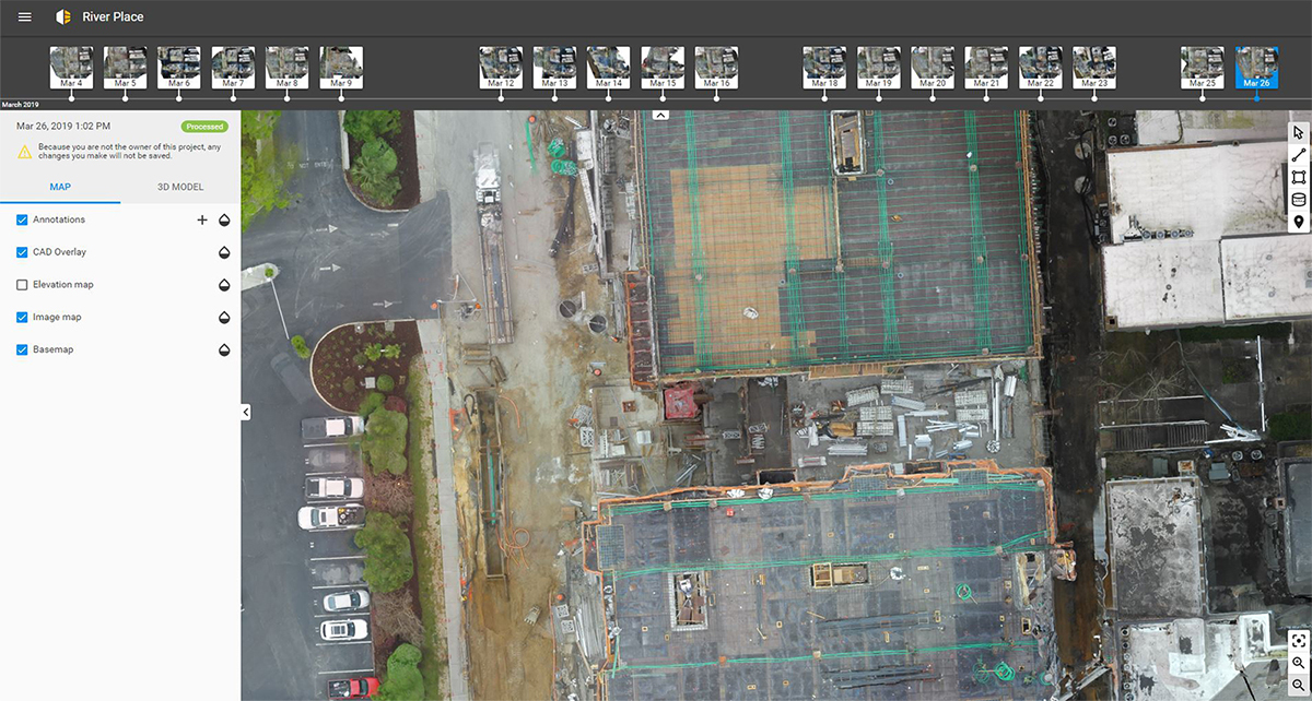 Pix4D Crane Camera used for 2d and 3d mapping of a construction project of Barnhill Contracting Company