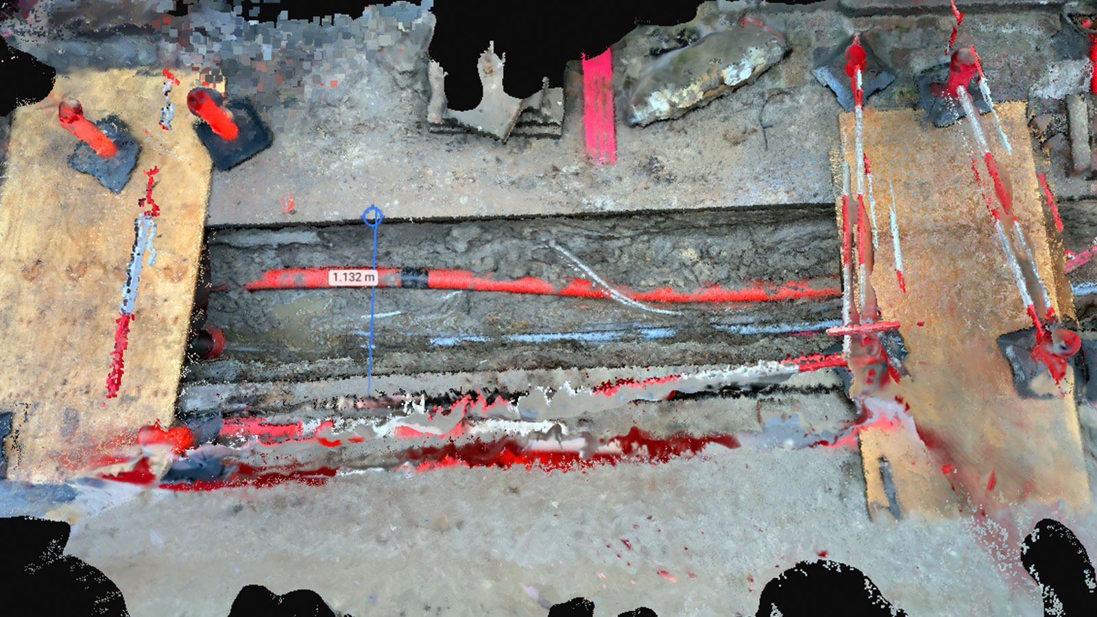 point cloud of the excavation site with measurements