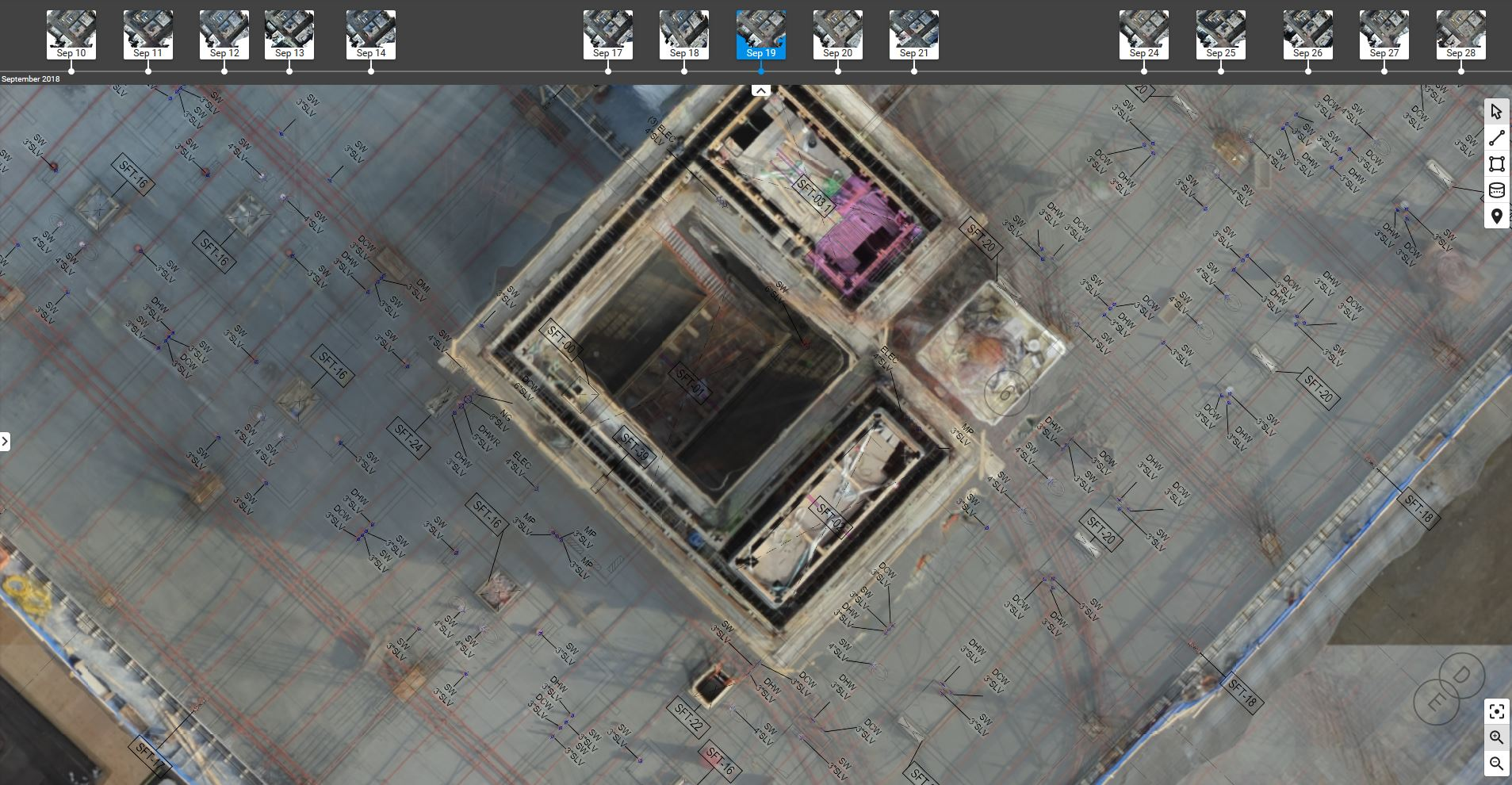 CAD overlay - compare as-build vs. as-design with Pix4Dbim