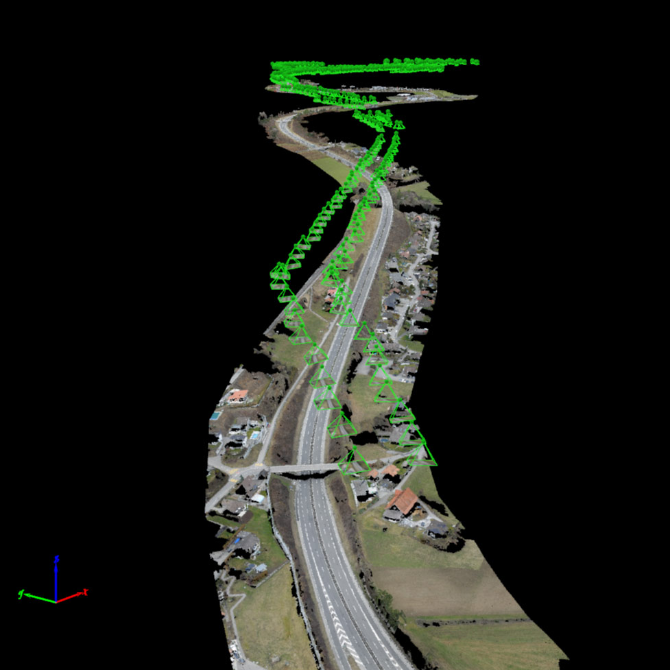 Map of highway with point clouds