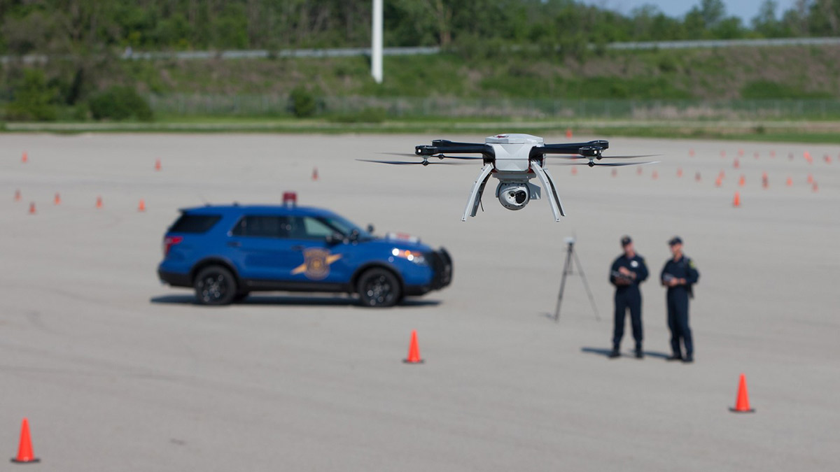 Officers practicing in drone flight for event management