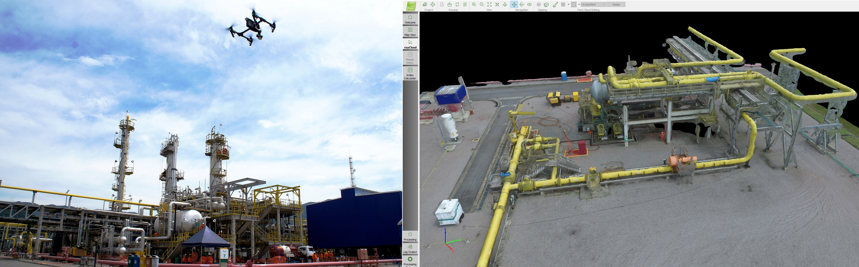 Drone flying above an oil plant, and a screenshot of the resulting 3D model.