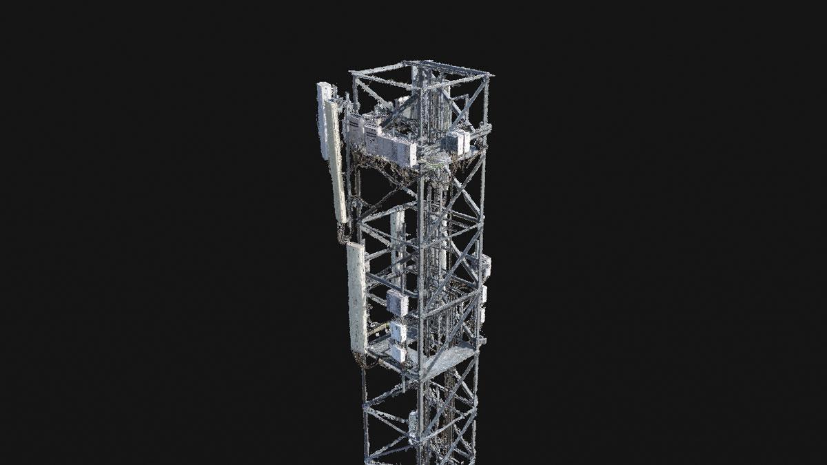 Punktwolkenerstellung eines Mobilfunkmasts