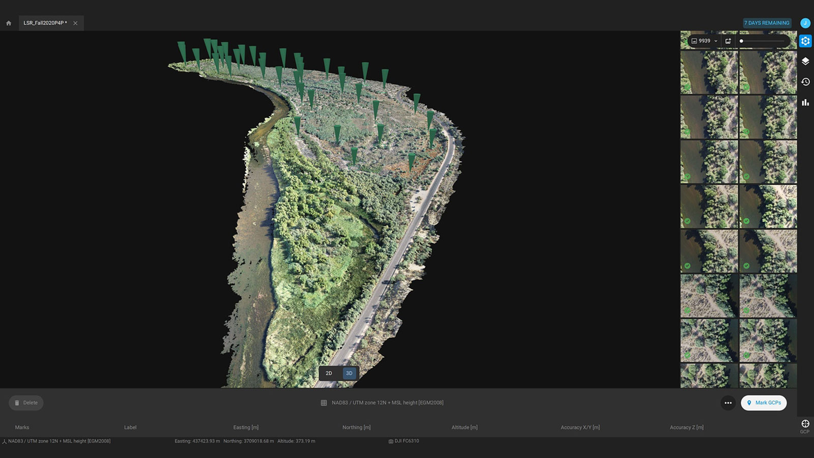 Pix4Dmatic interface with the corridor map of the river channel