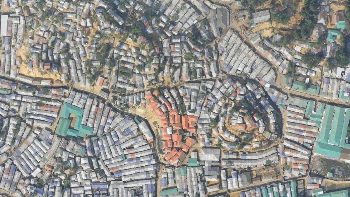 Aerial map of a refugee camp