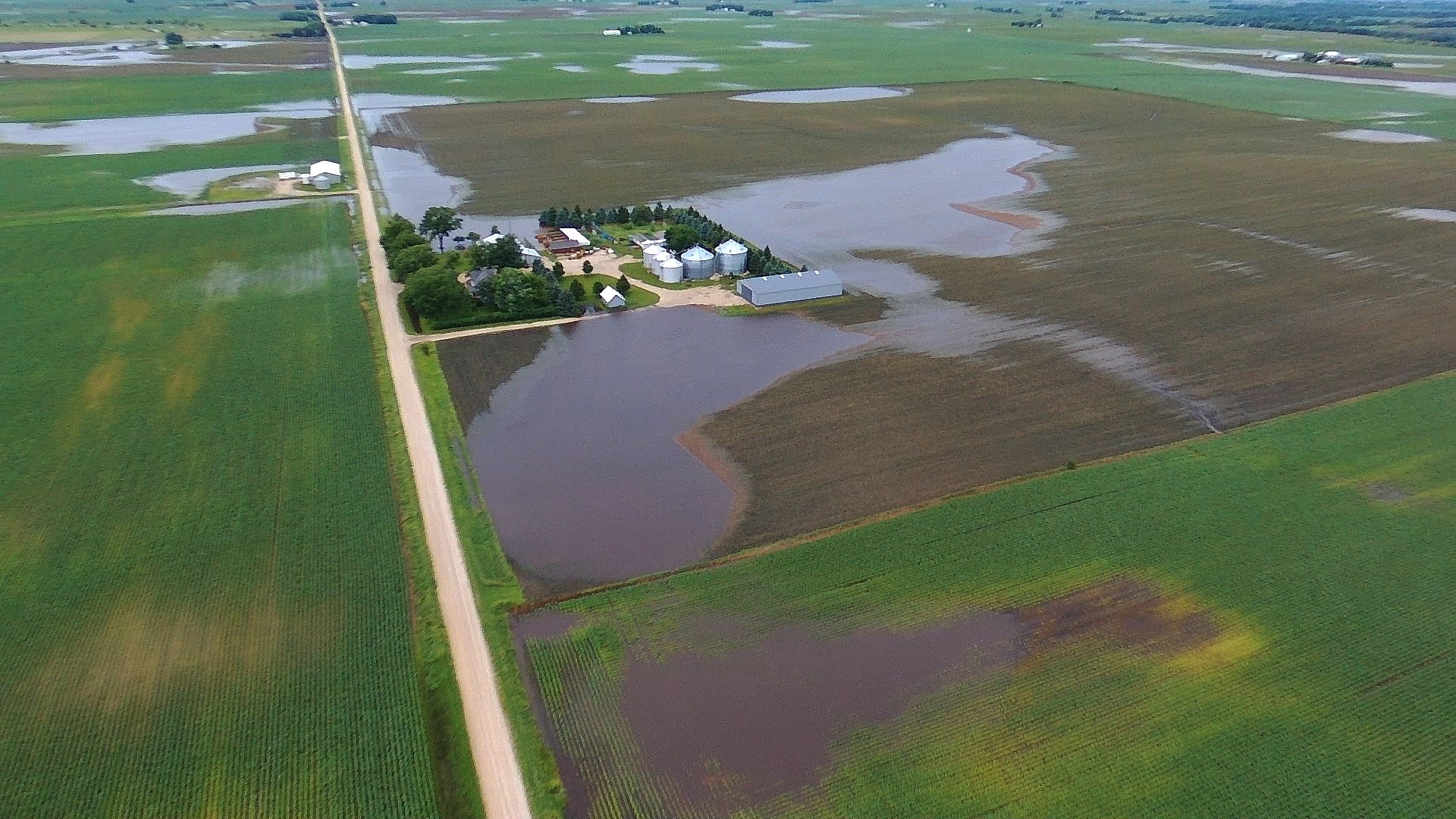 Drone images of floaded fields in Iowa