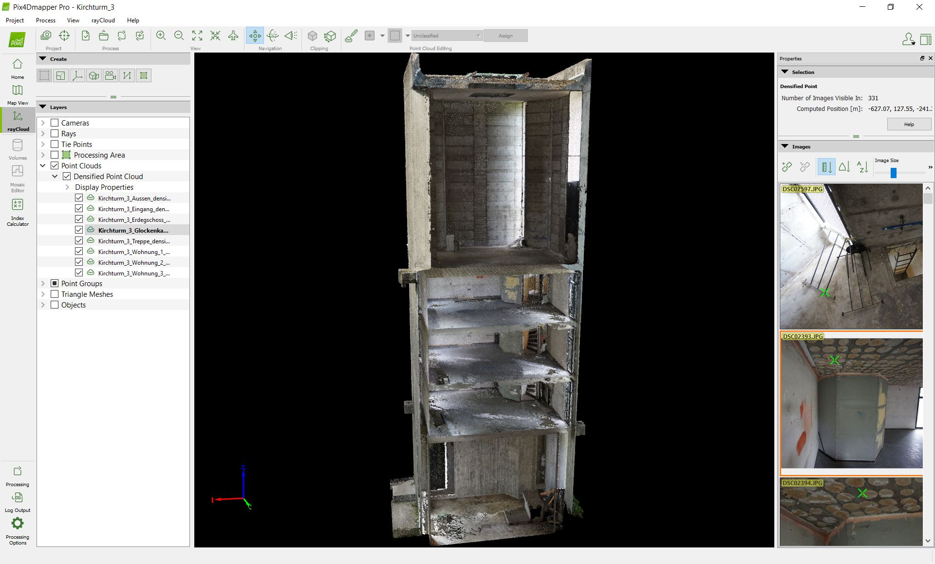 point cloud on Pix4Dmapper photogrammetry software interface