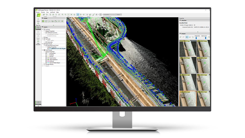 Pix4D's Raycloud photogrammetry software on a screen