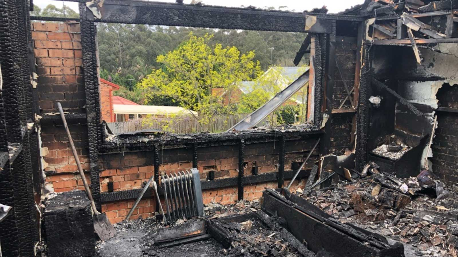A family home destroyed by fire