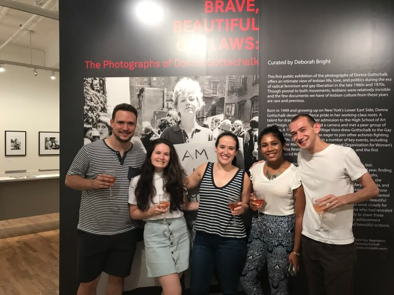 Codecademy employees smiling at a museum
