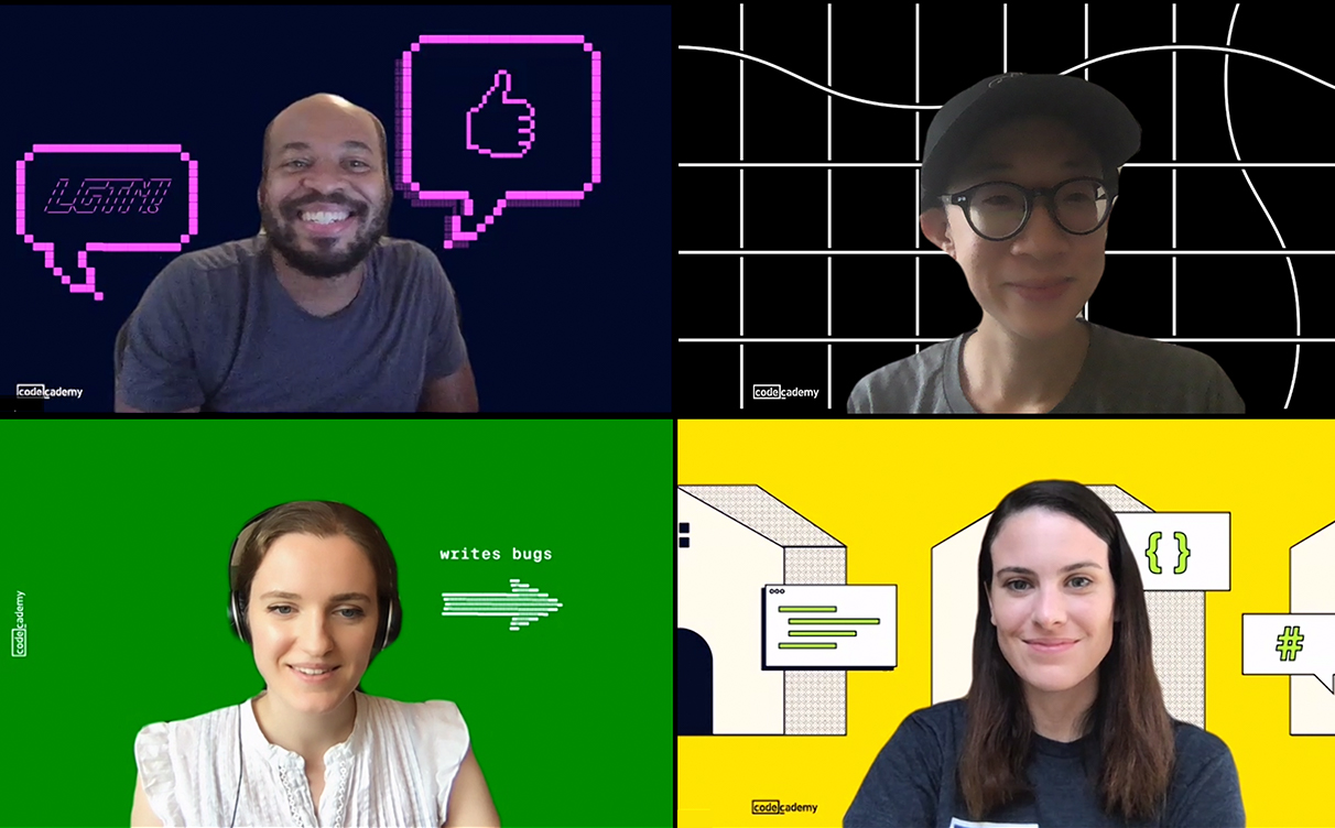 4 people in a Zoom chat with unique backgrounds.