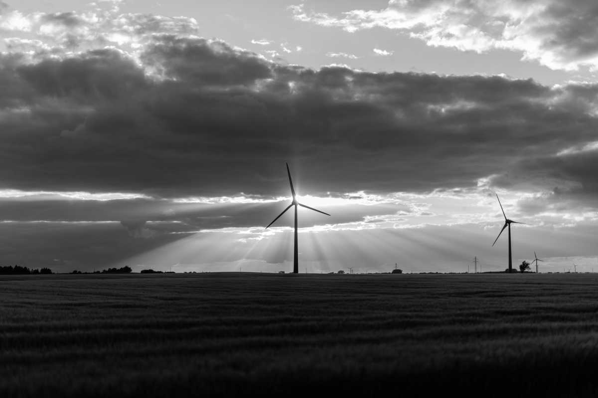 Dramatic black and white photo showing wind turbines on a field. The sun pierces through the clouds.