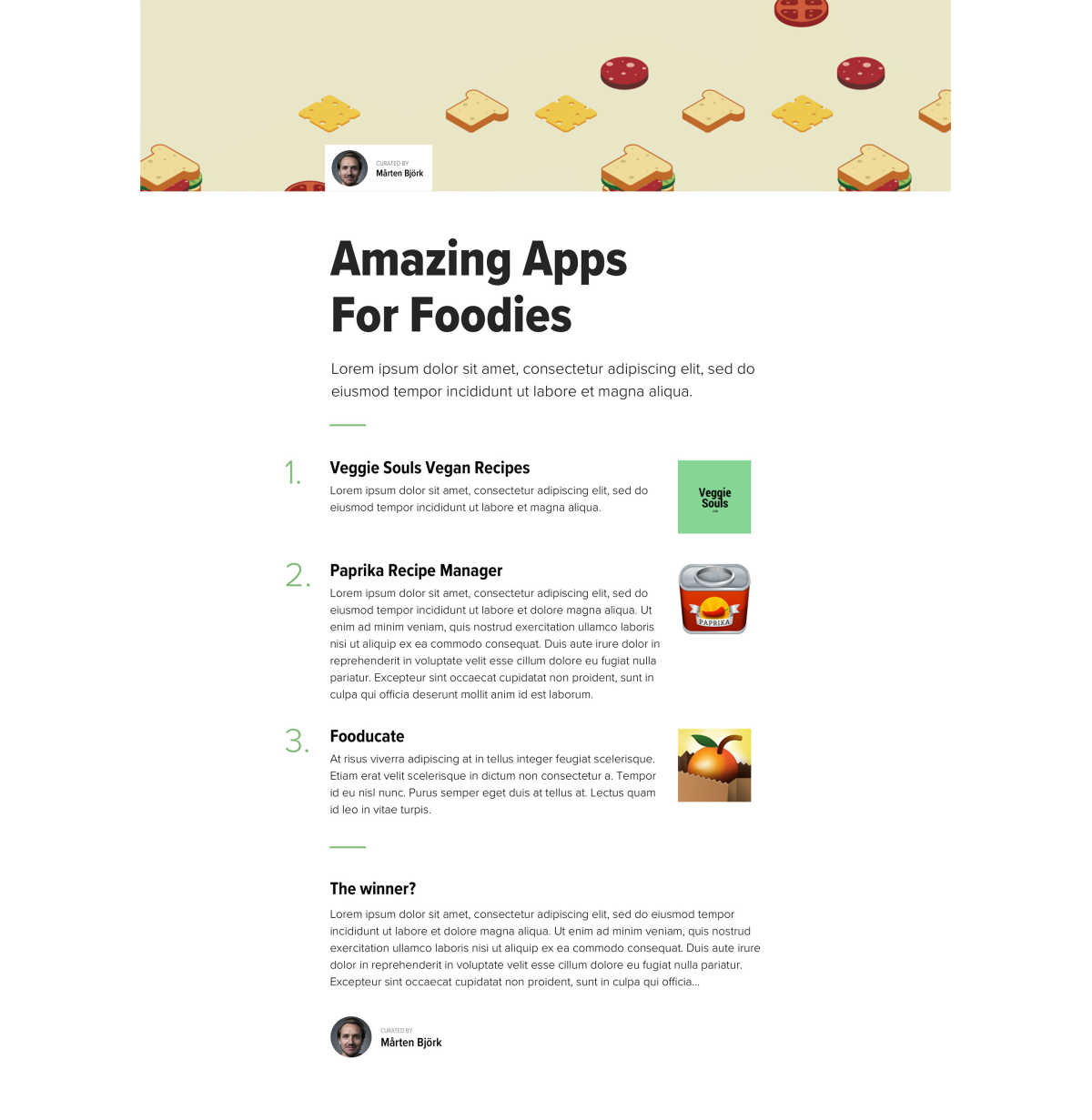 A design proposal of a blog post featuring a large banner graphic, a heading and a list of apps