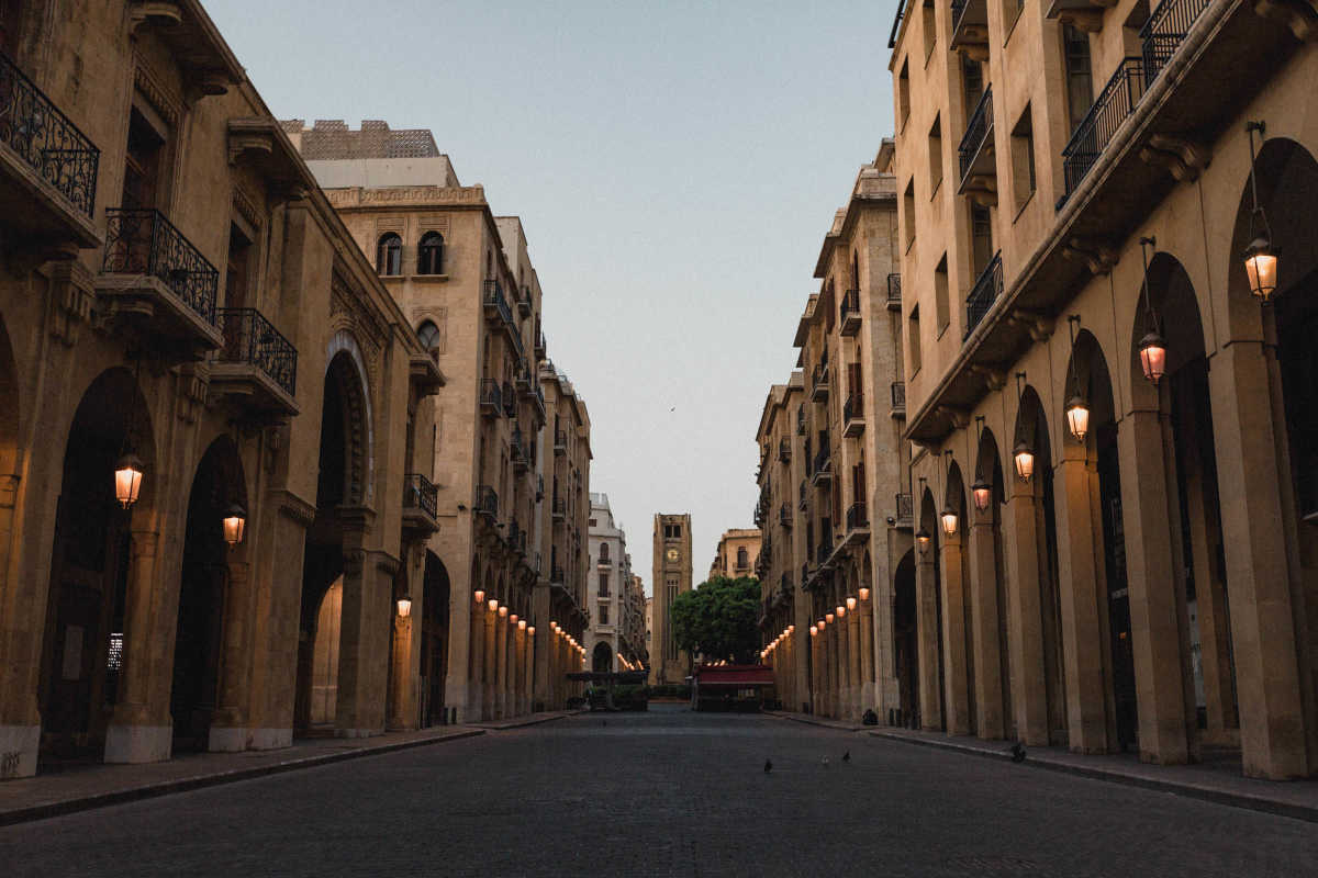 Wide angle shot of old buildings in Beirut, early in the morning