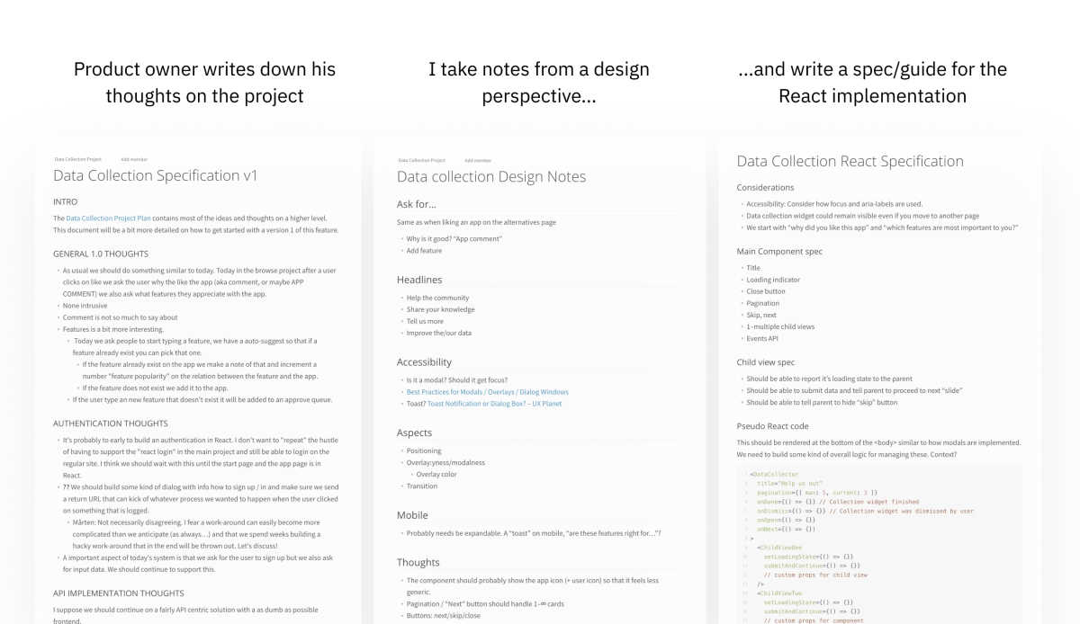 Screenshots of three different documents. First one shows the product owner's thought on the projects, the second one shows my design notes and the third one shows my notes on the react implementation of the modal.