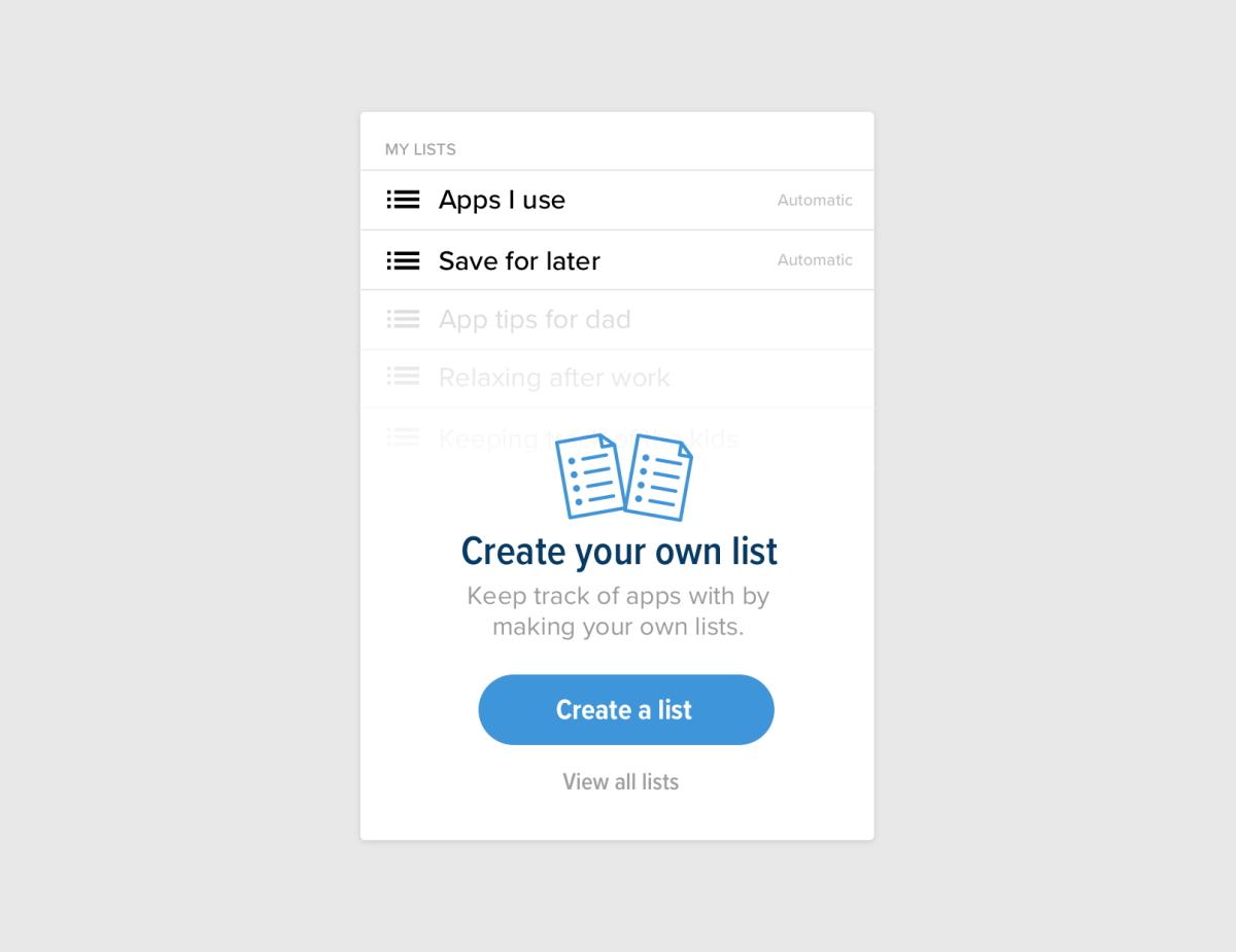 The menu showing a user's lists. At the bottom, it prompts you to create your own list.