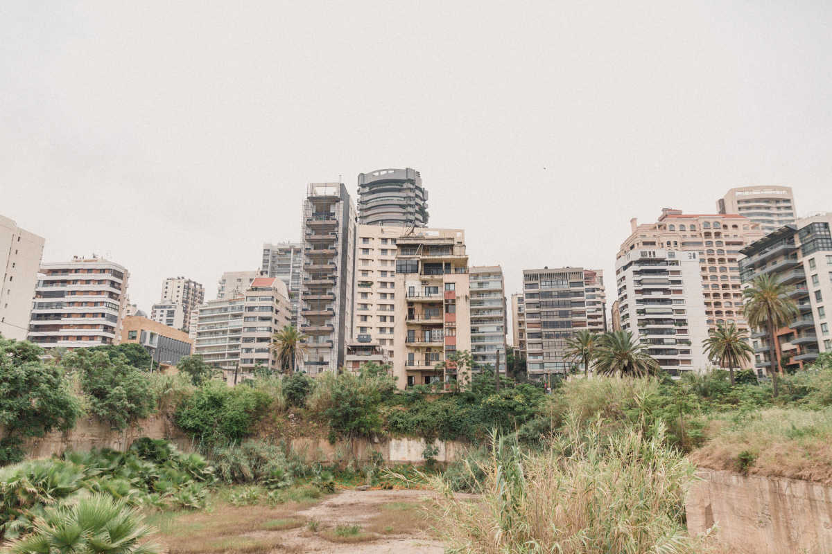 A ground level shot of tall buildings in Beirut