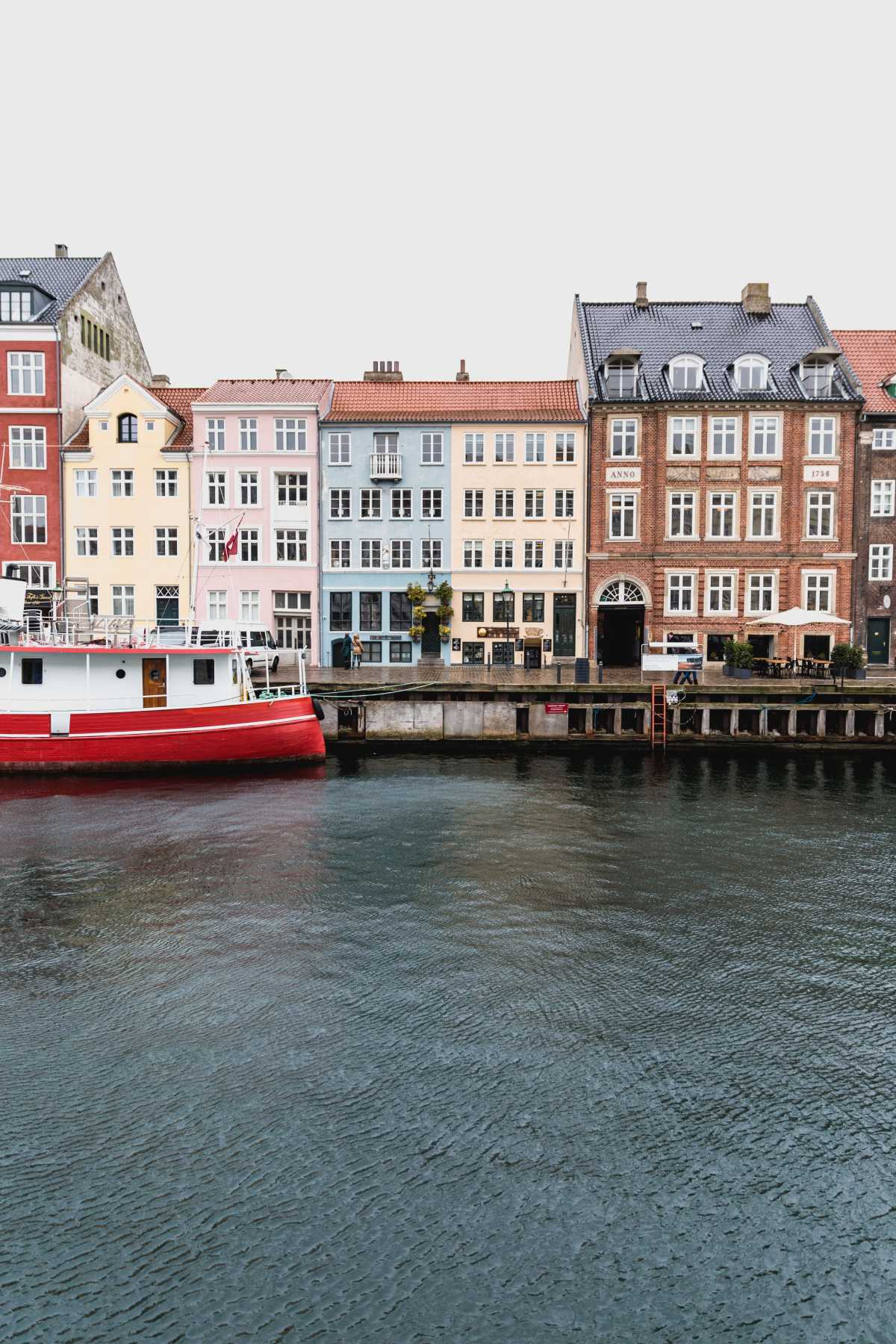 Old, colorful buildings by the water