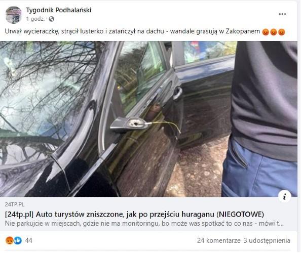Zdewastowano samochód turystów w Zakopanem