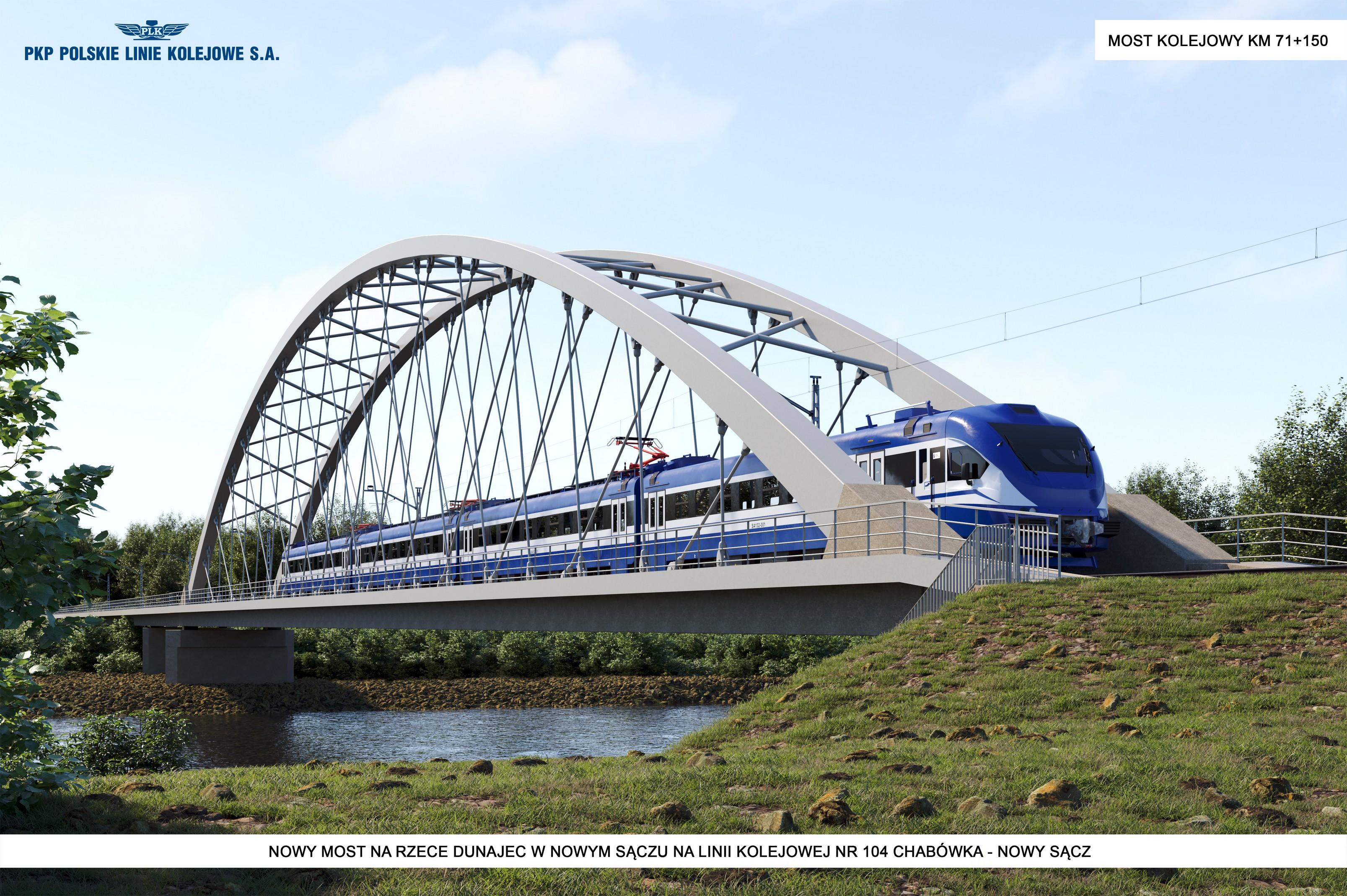 Linia Kolejowa 104 Odcinek E - przeslo nurtowe mostu kolejowego na rzece Dunajec w Nowym Saczu w km proj. 71 150