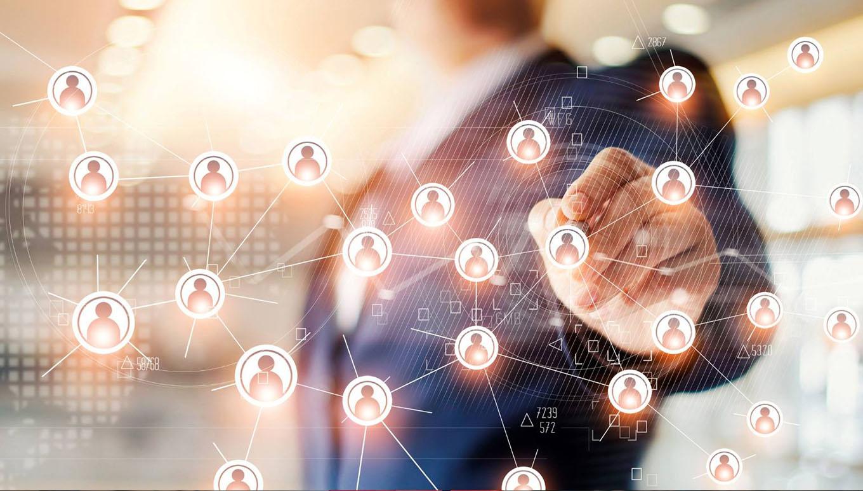 hand on virtual chain of avatars