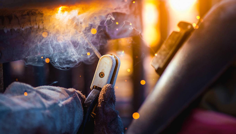 shooting flame on metal