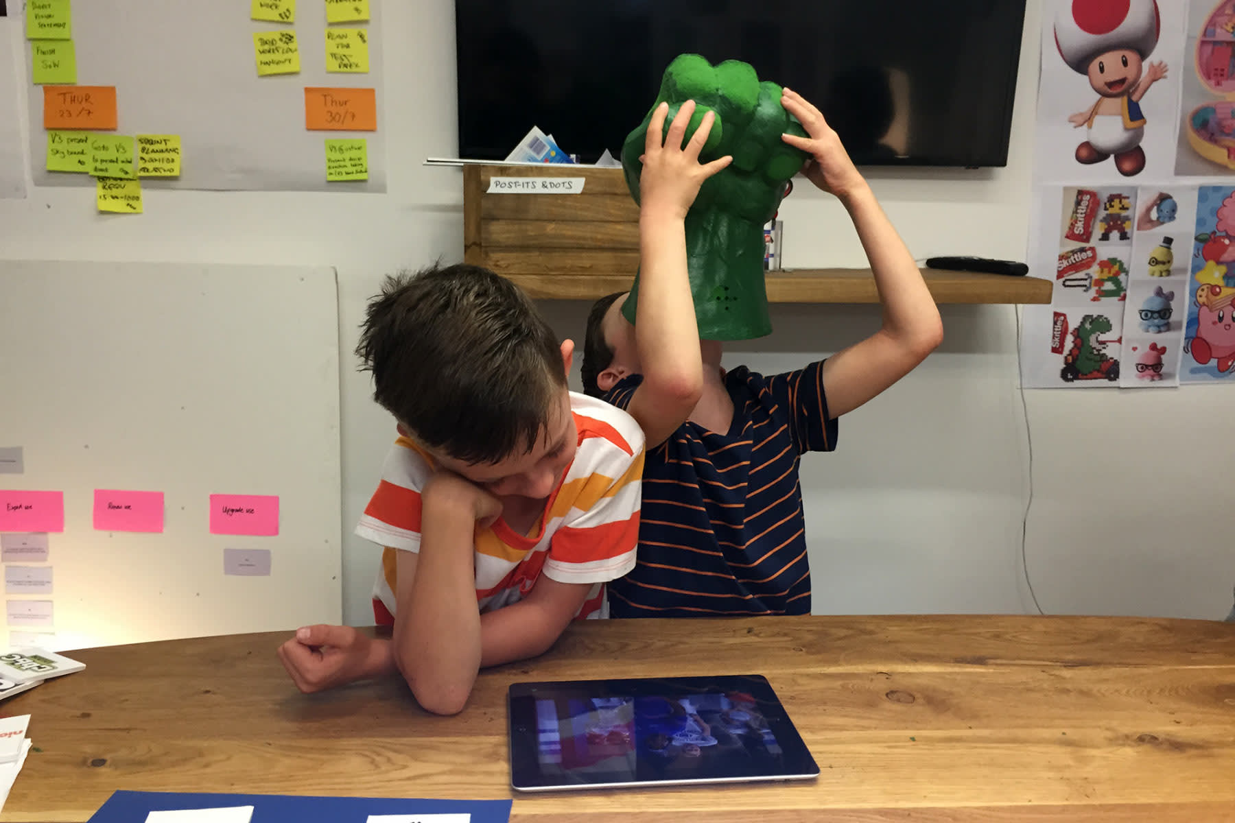Children user-testing the Sky Kids app
