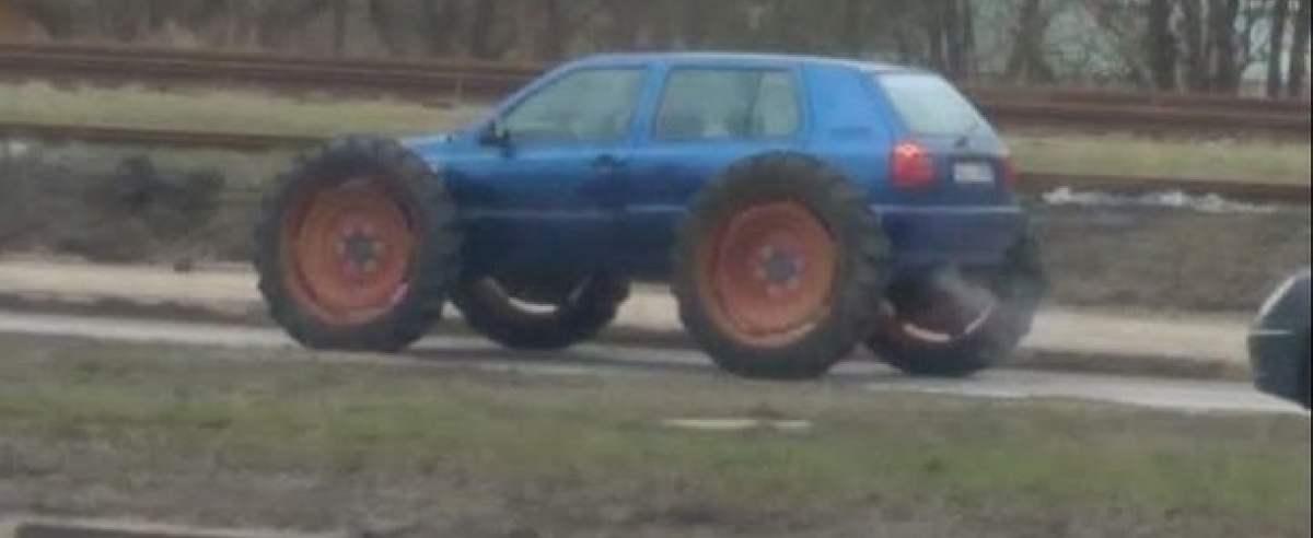 volkswagen golf na kołach od traktora. kierowca stracił prawo jazdy