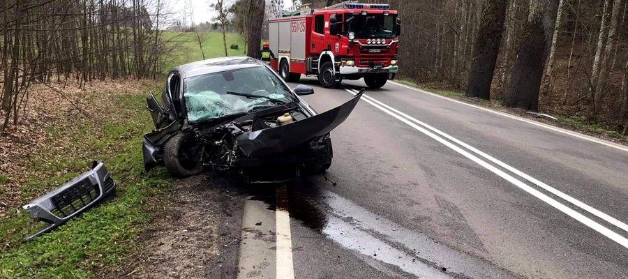 18-letni kierowca stracił panowanie nad autem i uderzył w drzewo. Miesiąc temu odebrał prawo jazdy