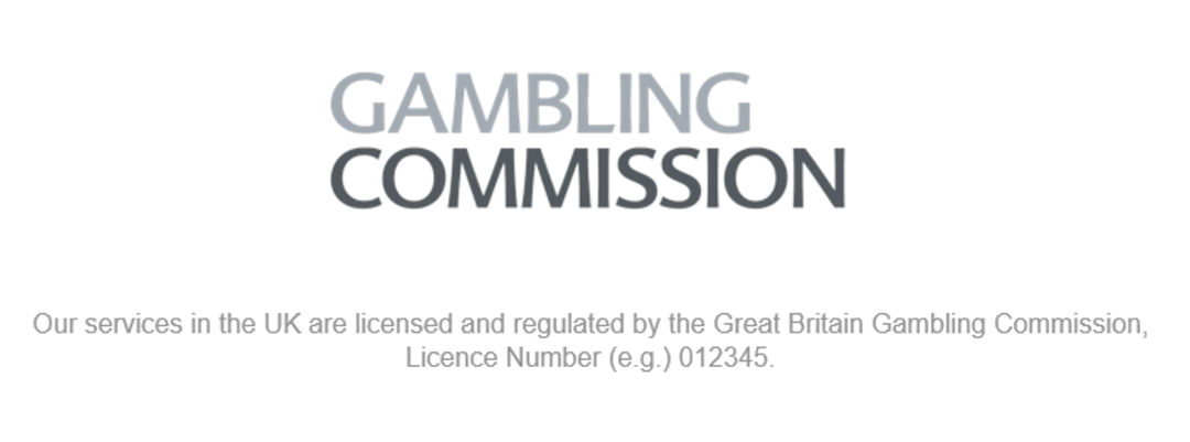 Gambling Commission logo and license.