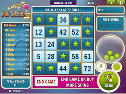Slingo Riches Game