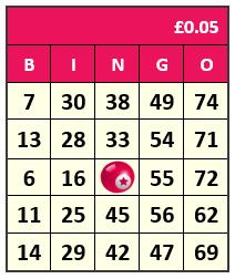 75 Ball Bingo card