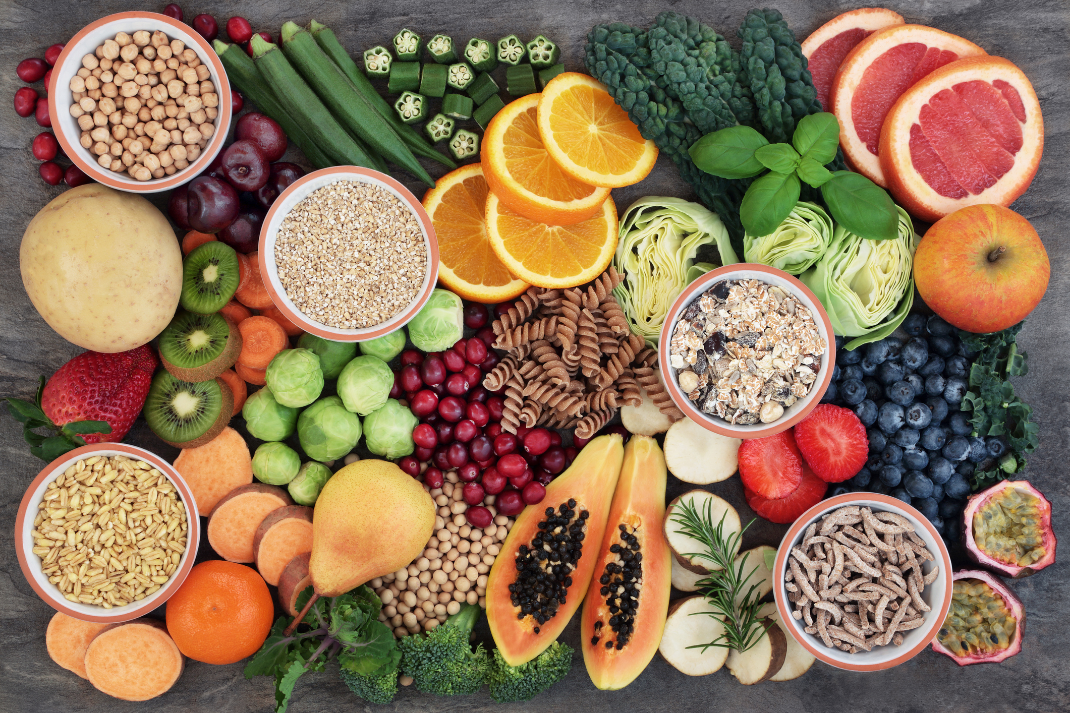 Plant-based foods. Fruits, vegetables, nuts, and grains.