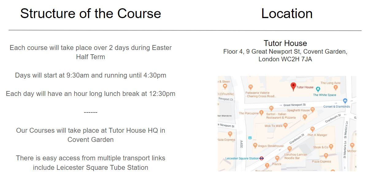 Easter Revision Courses London Information