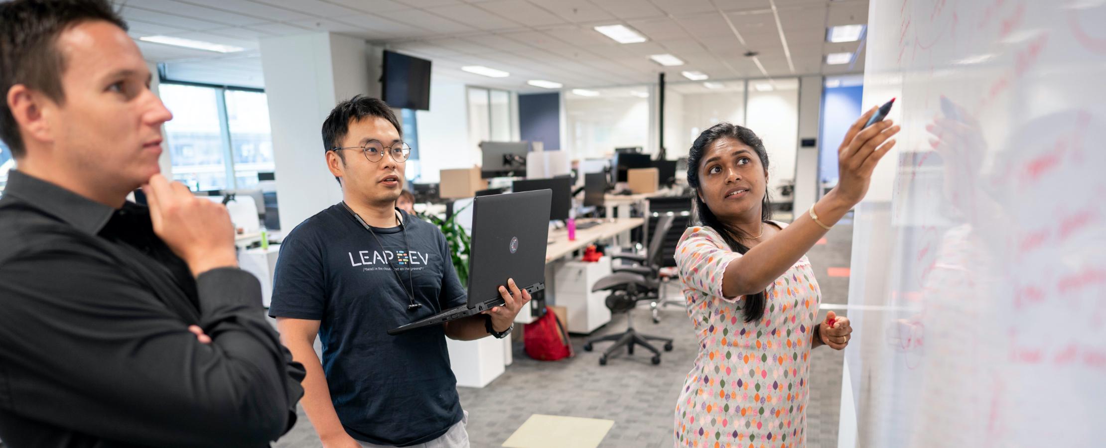 Office shot - LEAPsters in a meeting using blackboard