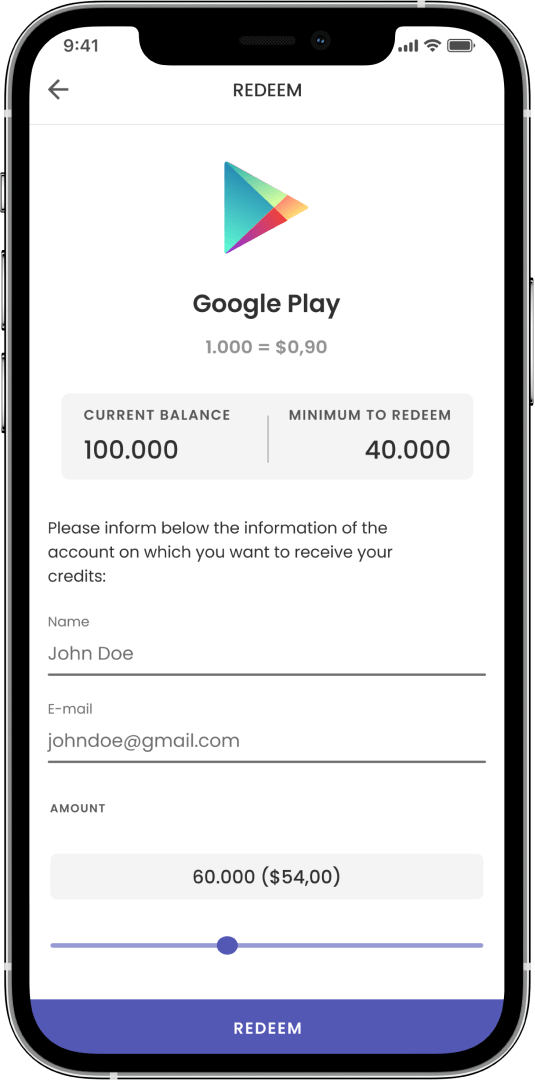 Image of a smartphone showing a redeem form from gold to real world credits for Google Play on the ExMox app.