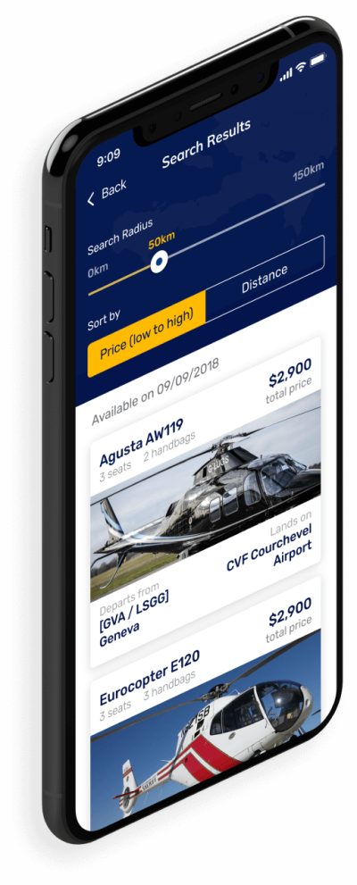 Image showing an example of the open FindHeli app