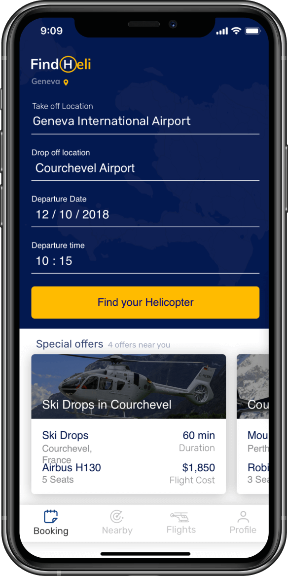 Image of a smartphone showing an example of the helicopter search visual design