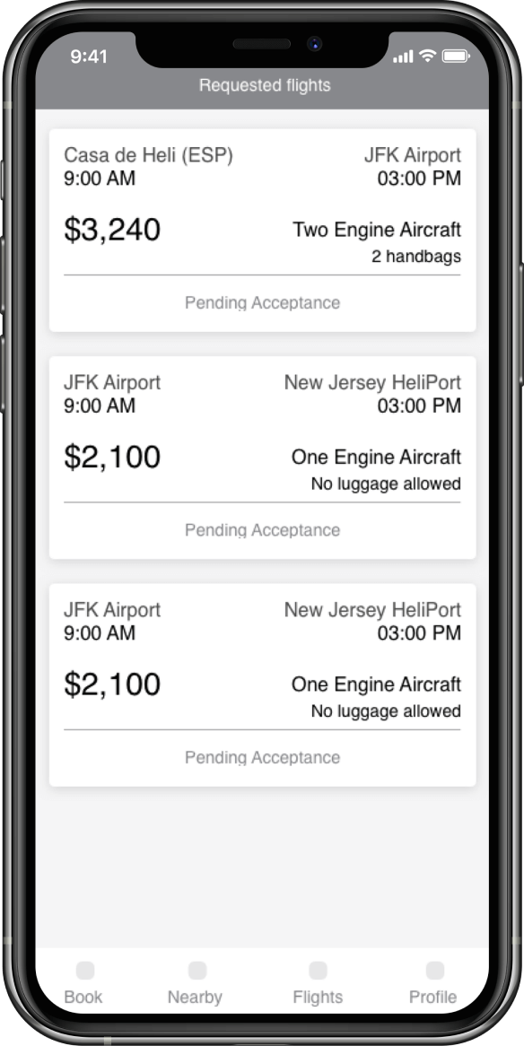 Image of a smartphone screen showing an example of a list of available flights containing aircrafts, departure and arrival times and prices