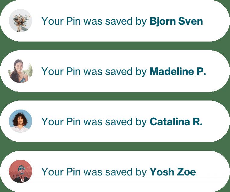 Ett flöde med kommentarer som visar vilka pins som sparats på Pinterest