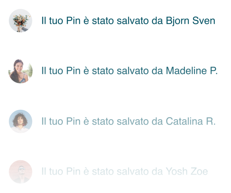 Un feed di commenti che mostrano quali Pin sono stati salvati su Pinterest